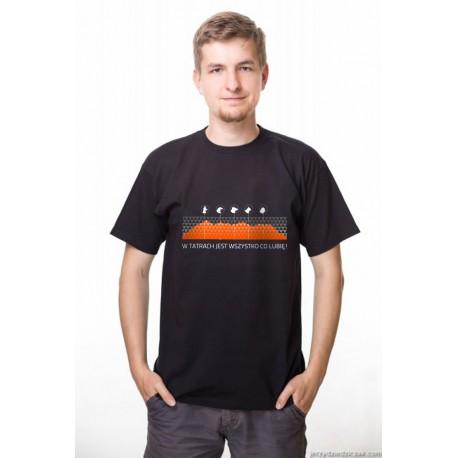 Koszulka męska LUBIĘ TATRY - pomarańczowe góry