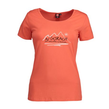 Koszulka damska W GÓRACH koral ID 0590 XS