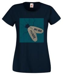 Koszulka damska Nic nie muszę (niebieski nadruk)