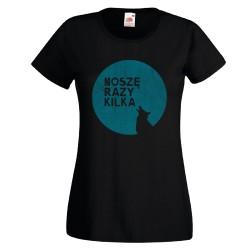 Koszulka damska Noszę razy kilka (niebieski wilk)