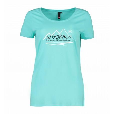 Koszulka damska W GÓRACH miętowa ID 0541