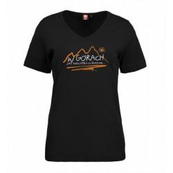 Koszulka damska W GÓRACH czarna V-neck  ID 0506