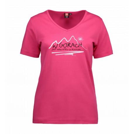 Koszulka damska W GÓRACH różowa V-neck ID 0506